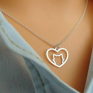 Jewelry - Gold Lovely Heart Kitty Cat Necklace